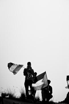 Manifestation pacifique contre le mur de séparation à Bil'in, territoire palestinien occupé.