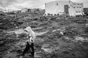 Liban, Akkar, janvier 2016. Le camp informel Saadine 002, où vivent 70 familles syriennes. © Agnes Varraine-Leca