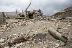 Yemen, gouvernorat de Saada, Haydan, mars 2018. L'école de Haydan, bombardée en 2016 par la coalition internationale dirigée par l'Arabie Saoudite et les Emirats arabes unis.