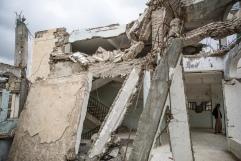Yemen, gouvernorat de Saada, Haydan, mars 2018. A l'intérieur de l'école de Haydan, bombardée en 2016 par la coalition internationale dirigée par l'Arabie Saoudite et les Emirats arabes unis.