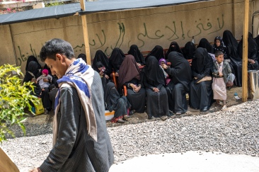 Yemen, gouvernorat de Saada, Haydan, mars 2018. Des patientes attendent pour voir un médecin à l'hopital de Haydan.