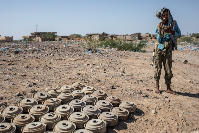 Yemen, Mawza, 13 December 2018 – Defused landmines. Mawza is located in Mocha district, Taiz governorate, a 45 minutes-drive to the east of Mocha city. This is a very poor and rural area, people are depending on their land to eat and to earn money. The area was taken over from Ansar Allah's control by forces loyal to President Hadi, supported by the Saudi and Emirati-led coalition, in the beginning of 2018. Fighting damaged the fields and thus, the livelihood of the 13,000 inhabitants of Mawza. While military troops were withdrawing, thousands of landmines and improvised explosive devices (IED) were planted in the area. Between August and December, MSF teams in Mocha received around 150 people injured by landmines or IED, mainly children playing in the fields. Landmines and IEDs are defused by military forces. Local NGOs are in charge of locating these devices.